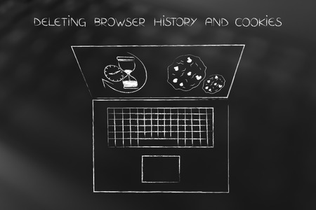 deleting browser history concppt: laptop with hourglass and cookie icons on screen Фото со стока