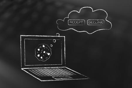 Cookie Policy Concept: laptop met accept of afwijzingsopties in een gedachtebubble