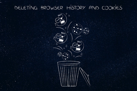 clean up your browser history concept: hourglass icons and cookies ending up in the bin to be deleted