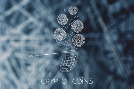 crypto currency concept: coin with electronic circuits getting collected with a net
