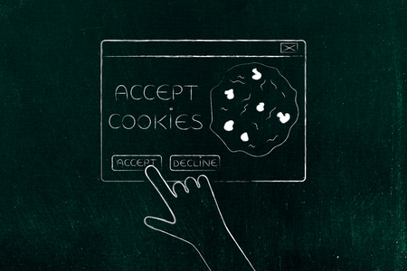cookie policy concept: hand about to click on Accept Cookie pop-up message