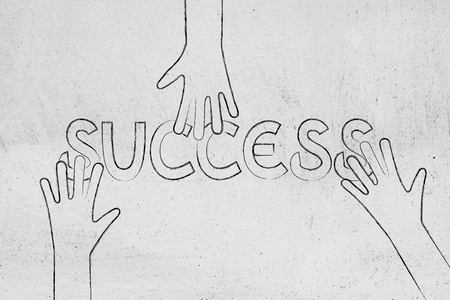 seizing: hands grabbing parts of the word Success, concept of seizing opportunities