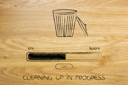 clean-up your computer files concept: bin with progress bar
