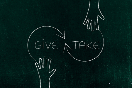 give and take concept: hands with arrows and text Stock Photo