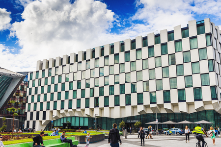 DUBLIN, IRELAND - 5th July, 2017: detail of the Docklands aea of Dublin featuring the Bord Gais Theatre and the Marker Hotel