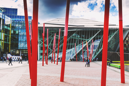 DUBLIN, IRELAND - 5th July, 2017: detail of the Docklands aea of Dublin featuring the Bord Gais Theatre