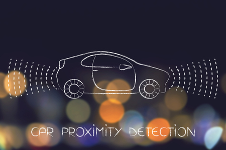 car proximity sensor concept: vehicle with rays detecting distance all around the car for satey reasons
