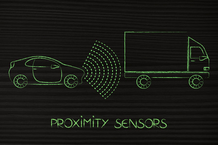 car proximity sensor concept: vehicle with rays detecting distance with truck for satey reasons Stock Photo