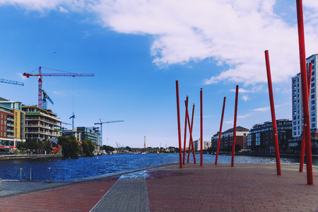 DUBLIN, IRELAND - 12th July, 2017: detail of the regenerated Docklands area of Dublin in Grand Canal Square