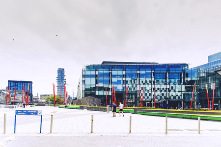 DUBLIN, IRELAND - 12th July, 2017: detail of the regenerated Docklands area of Dublin featuring the Bord Gais Theatre