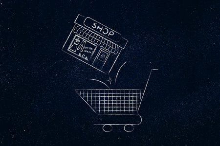 buying too much concept: shopping cart with entire shop being thrown inside