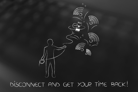 disconnect and get your time back concept: man grabbing hourglass among wifi symbols Stock Photo