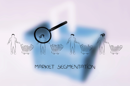 market segmentation concept: magnifying glass analysing the customer with more products in her shopping cart among a group of clients Stock Photo