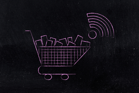 no-cashier store: shopping cart with wi-fi symbol