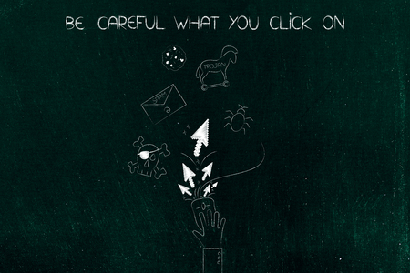be careful what you click on: hand on computer mouse with pointer arrows surrounded by cyber threat icons Stock Photo