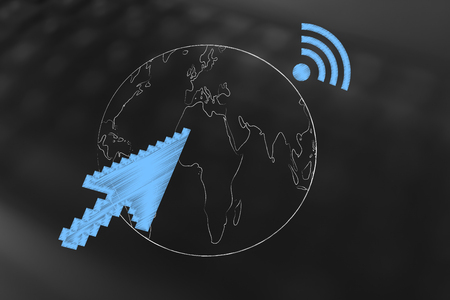global network concept: planet earth with mouse pointer arrow and wi-fi connection symbol