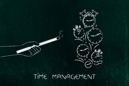 light duty: time management metaphor: magic wand moving clocks and alarms