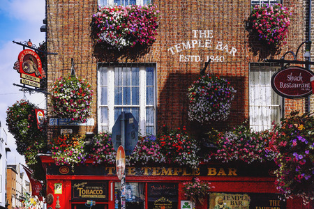 DUBLIN, IRELAND - July 15th , 2017: detail of the historical traditional Irish pub of Temple Bar in the district named after it in Dublin, Ireland