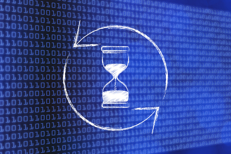 reloading time metaphor: hourglass and refresh symbol made of spinning arrows in the centre
