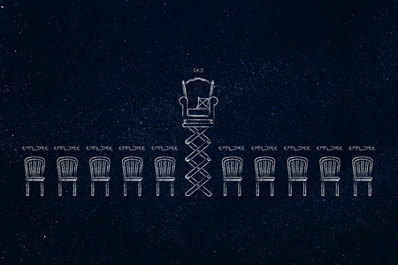 hierarchy concept: Ceo throne popping up on spring among other simpler employees chairs