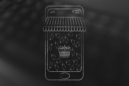 rebates: online shopping sales concept: smartphone with shop awnings coming out of the screen and shopping basket surrounded by price tags