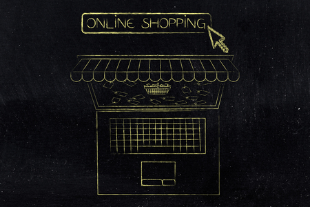 line Shopping Sales Concept Laptop With Shop Awnings ing