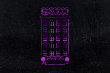 toursim and accomodation industry concept: Grand Hotel flat minimal illustration