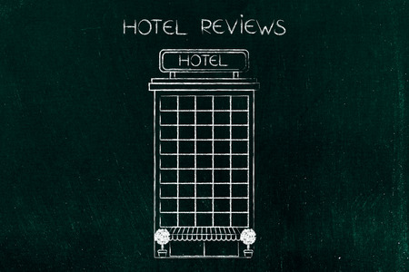 hotel reviews concept: accomodation building illustration Stock Photo
