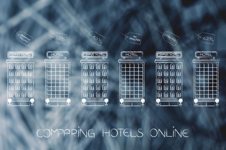 hotel promotions concept: line of accomodation buildings with different offers and conditions in price tags above them
