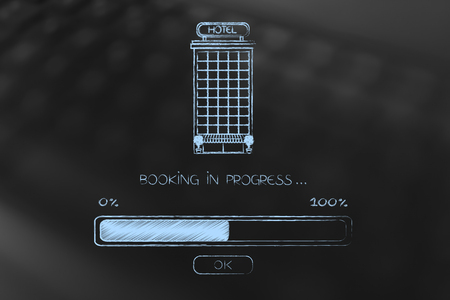 hotel reviews: booking in progress concept: hotel with bar loading Stock Photo
