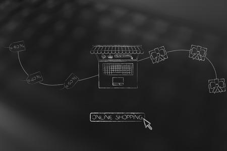 オンライン ショッピングで注文の概念: アイテムまたは受信された贈り物をノート パソコンにリベート価格タグから