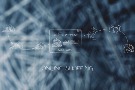 online shopping and concept of placing an order: from money to digital payment pop-up message to items delivered Stock Photo