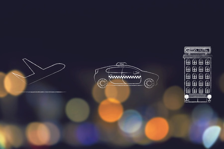 airport transfers and world travel concept: airplane, taxi and hotel buiilding icons next to each other