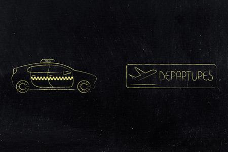 空港トランスファー、世界旅行の概念: フライト出発のアイコンの横にタクシー車