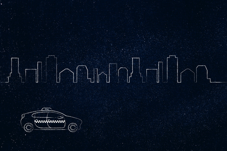 空港トランスファー、世界旅行の概念: 都市のスカイラインを背景でタクシー車