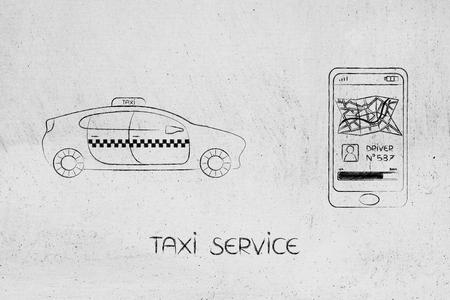 空港トランスファー、世界旅行の概念: タクシー ドライバーの要求にスマート フォンのアプリの横にある車 写真素材
