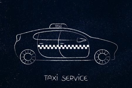 タクシー車のキャプション、最小限のスタイルのチョークのイラスト