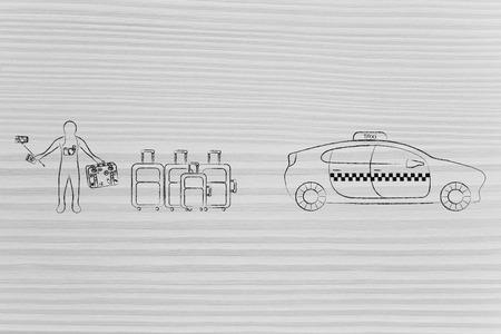 空港トランスファー、世界旅行の概念: 観光タクシー車の横にある荷物や selfie の棒で