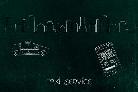 空港トランスファー、世界旅行の概念: ドライバーを要求する背景とスマート フォンのアプリで街のスカイラインとタクシー車