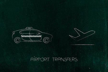 空港トランスファー、世界旅行の概念: 飛行機アイコンの横にタクシー車 写真素材