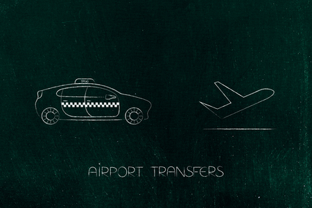 airport transfers and world travel concept: taxi car next to airplane icon