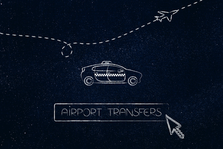 world travel concept: airport transfer taxi car with button and cursor about to book a ride and with airplane flying in the background