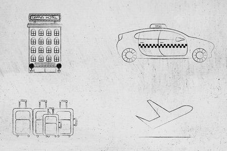 世界旅行の概念: タクシーの車のアイコン、荷物、飛行機の横にあるホテル