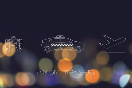 next icon: airport transfers and world travel concept: luggage icon next to taxi car and airplane taking off