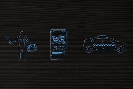空港トランスファー、世界旅行の概念: selfie のスティックとスマート フォンのアプリ、タクシーのサービスの横にある荷物の観光
