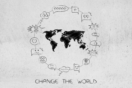 単語を変更し、進歩の概念をもたらす:キャプション付きの混合意見やコメントに囲まれた世界地図 写真素材