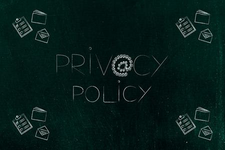 privacybeleidsconcept: tekst met @ -symbool dat is gemaakt van sloten en bedrijfsobjecten ernaast