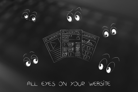 alll eyes on your website concept: webpages surrounded by cartoon eyes staring Stock Photo
