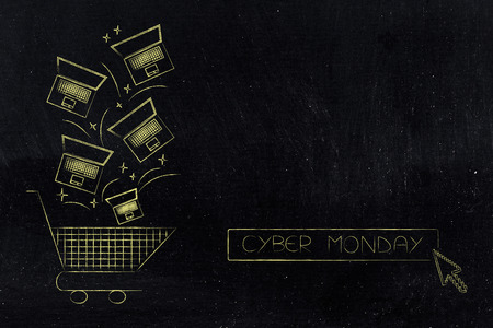 cyber monday and black friday promotions: laptops falling into shopping cart with price tags with text