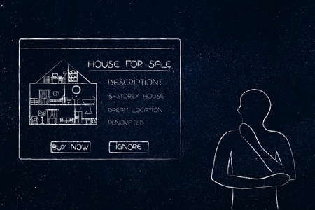 real esate ads online: doubtful man looking at pop-up message with house description considering whether to buy or ignore